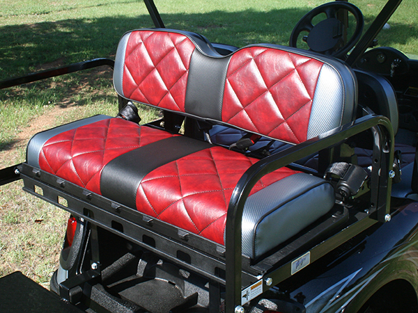 Custom Painted Burgundy with White and Silver E-Z-GO RXV Lifted Golf Cart diamond stitched rear seat