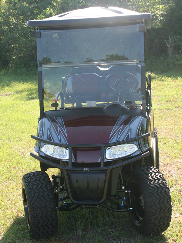 Custom Painted Burgundy with White and Silver E-Z-GO RXV Lifted Golf Cart front view