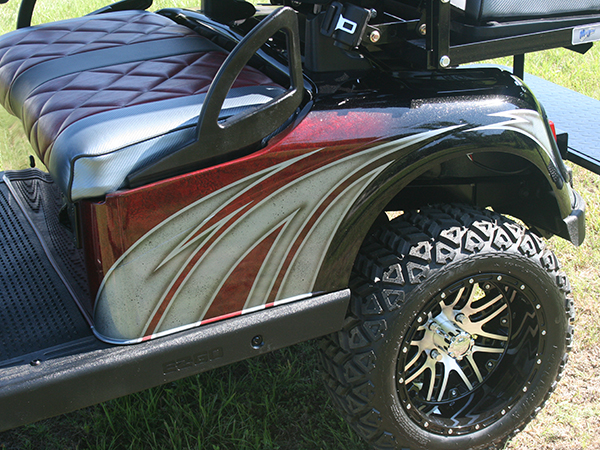 Custom Painted Burgundy with White and Silver E-Z-GO RXV Lifted Golf Cart rear detail