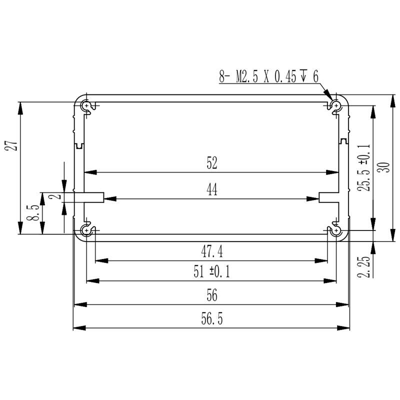 D1001434 geëxtrudeerde aluminium behuizing afmetingen