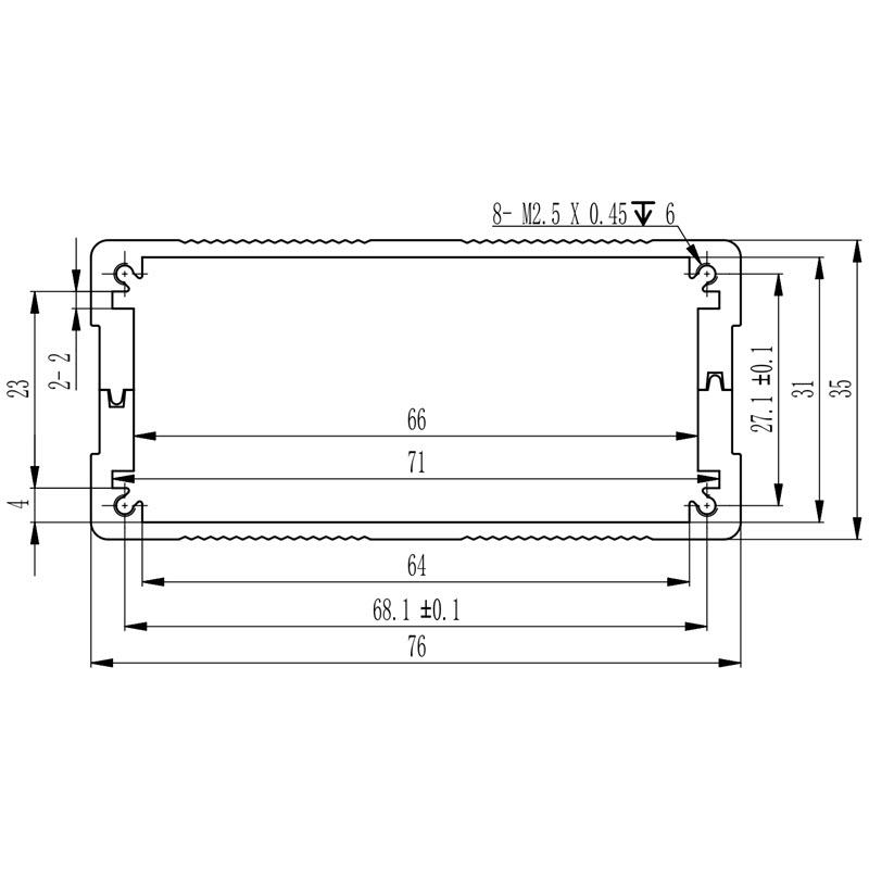 D1001436 elektronicabehuizing in aluminium afmetingen