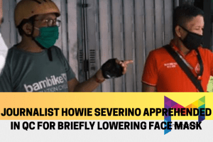Journalist Howie Severino apprehended after lowering mask for a quick drink