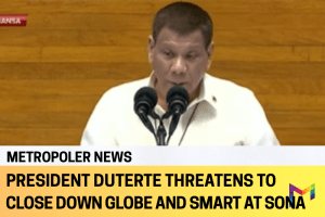 Duterte shakes Globe and Smart during his 5th SONA