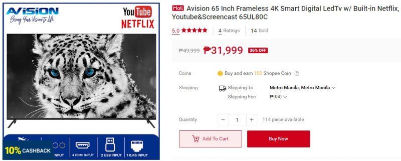 Avision 65 Inch Frameless 4K Smart Digital LedTv w/ Built-in Netflix, Youtube & Screencast 65UL80C - Metropoler