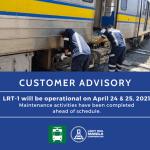 LRMC cancels LRT-1 service suspension on April 24-25