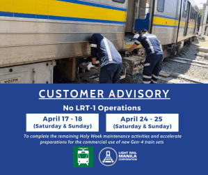 No LRT-1 operations on April 17-18, 24-25