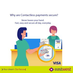 Experience safe, secure, and convenient shopping with EastWest Visa Cards' contactless feature