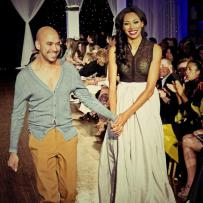 Designer Gary Gonzalez with model at Next Fashion 2012 runway show at Germania Place during Fashion Focus Week Chicago.