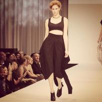 Caroline Mazurek, the finalist of Mario, Make Me A Model competition, facing the final challenge of walking the runway during the Fashion Focus Chicago week.