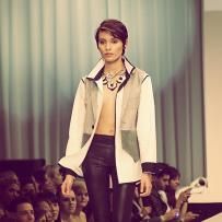 Laura Almazan, the finalist of Mario, Make Me A Model competition, facing the final challenge of walking the runway during the Fashion Focus Chicago week. Design by J.Cheikh.