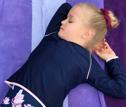 pink navy rashguard sun protection swimsuit girls snapper rock
