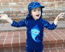 shark blue sun protection suit toddler