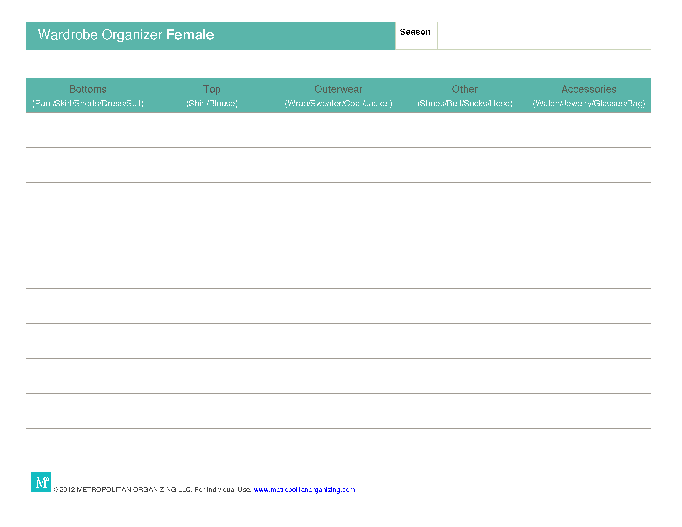 Travel Outfit Planner Template