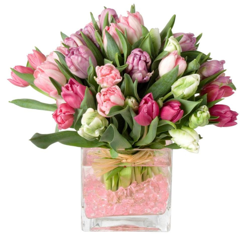 Assorted Tulips In Cube Glass