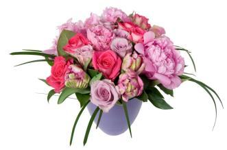 Peony Tulips and Roses In Purple Ceramic