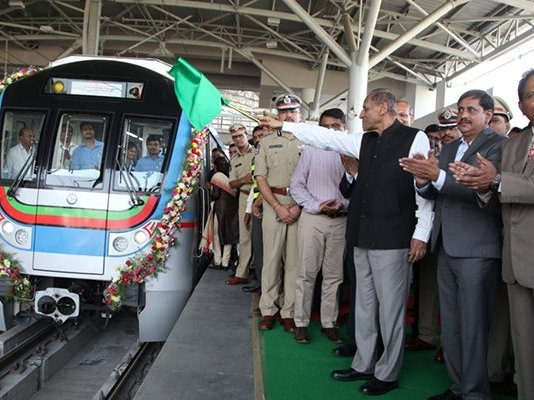 The Governor of Telangana & AP Shri. E.S.L. Narasimhan, Dr. S.K. Joshi Chief Secretary, Telangana, HMRL MD Shri. N.V.S. Reddy & other officials were part of the inaugural run
