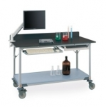 Metro Worktable with Black Phenolic Top and Solid shelf
