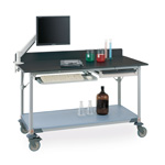 Lab Tables w/ Stainless Island Top and Solid HD Shelf