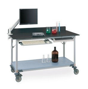 MetroMax Worktable with Black Phenolic Top and Solid Shelf