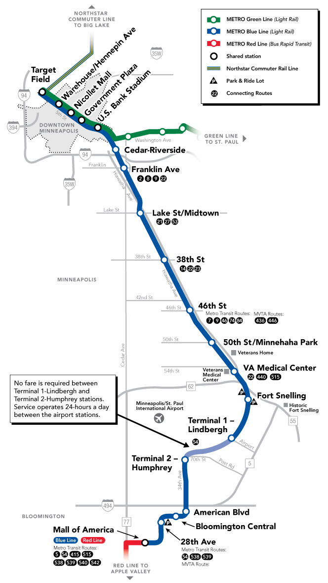 hiawatha light rail route map minneapolis mn