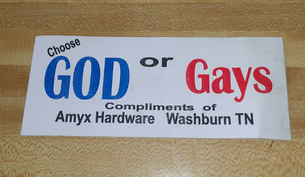 One of the bumper stickers being sold at Amyx Hardware (Photo: Amyx Hardware & Roofing Supplies, via Facebook).