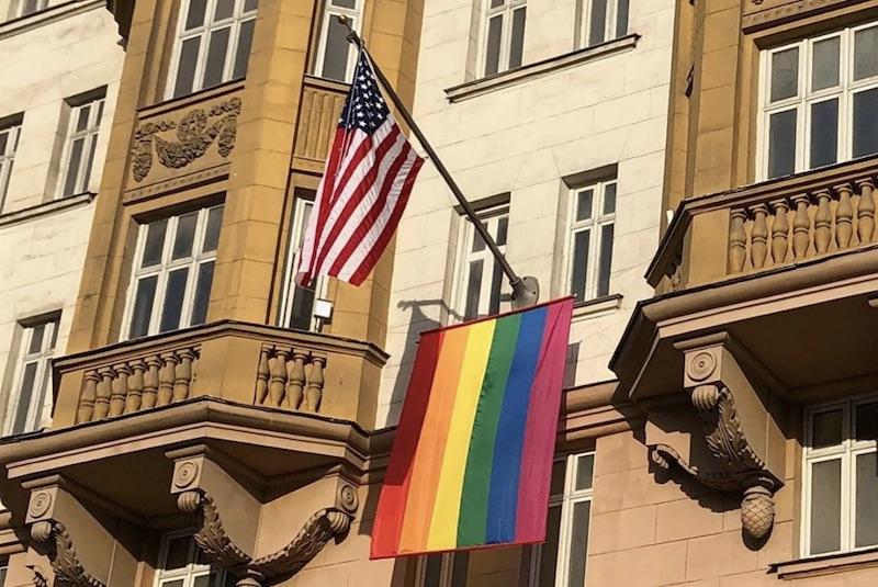russia, putin, gay, embassy, pride, flag, mock