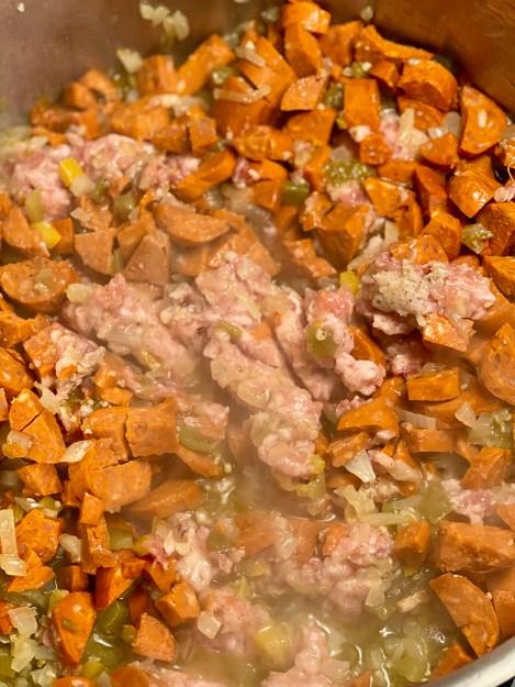 browning beef and chorizo