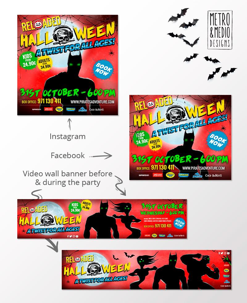 Banners para fiesta de Halloween de Pirates Reloaded en Magaluf con superhéroes con fondo de cementerio