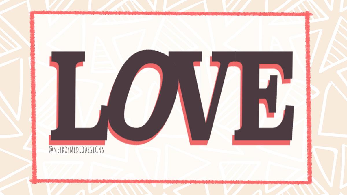 Composición tipográfica palabra Love
