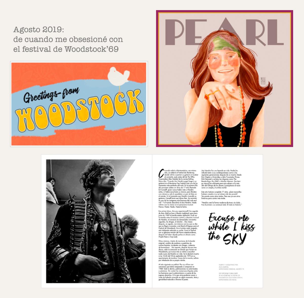 Postal Woodstock, retrato Janis Joplin, reportaje Jimi Hendrix de Metro&medio Designs.