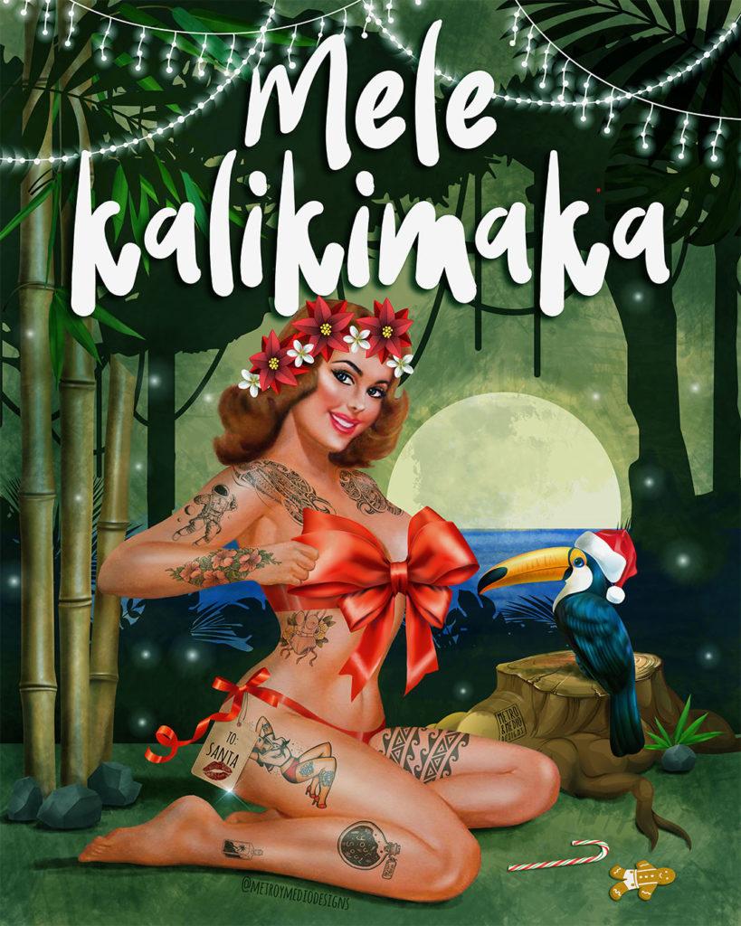 Felicitación navideña estilo hawaiano. PIn-up tatuada, paisaje nocturno de jungla y mar. Tucán con gorro de Santa Claus. Texto: Mele Kalikimaka