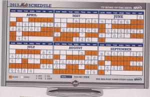 2013 Mets magnetic schedule