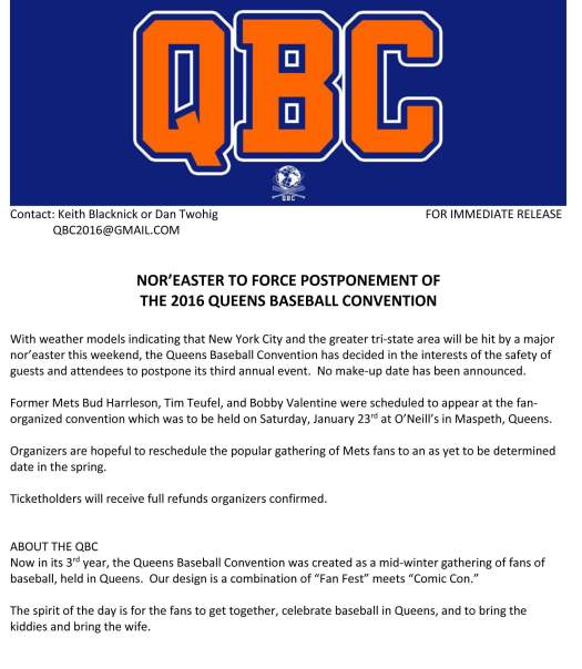 QBC 16 Press Release on NorEaster
