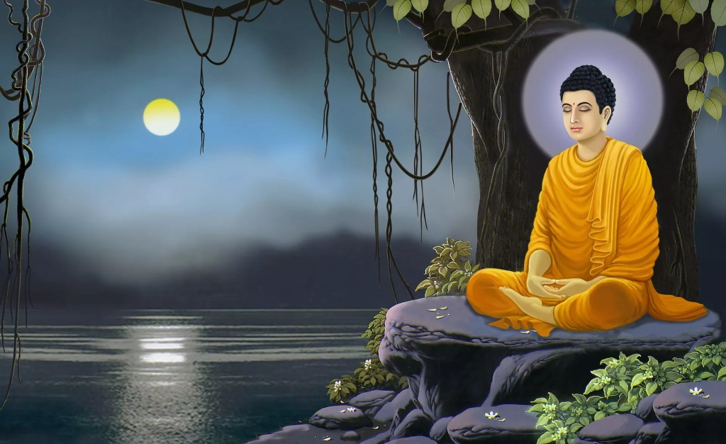 buddha lake moon