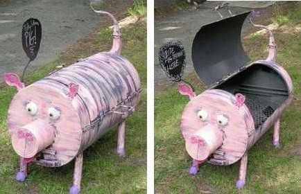 Rosa Schwein im Garten