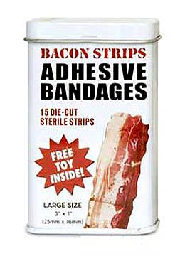 In den Finger geschnitten? Die Bacon-Pflaster machen alles wieder gut.