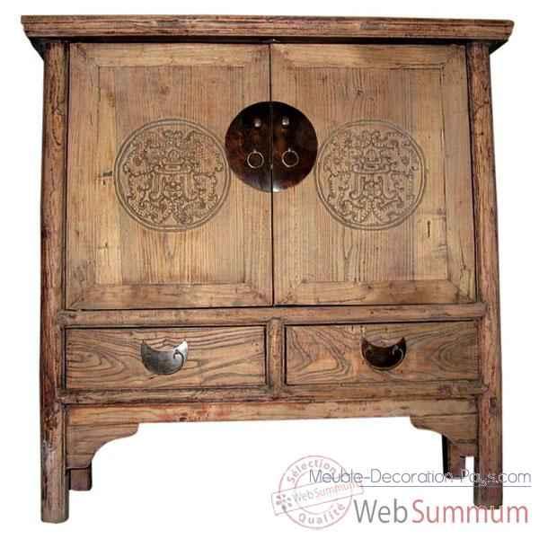 buffet 2 portes et 2 tiroirs decape ancien style chine c0722