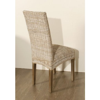 chaise blanchie en rotin