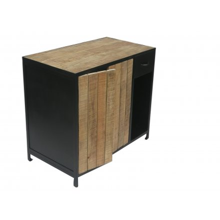 meuble salle de bain metal noir bois naturel