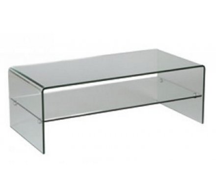 table basse verre double plateau cleo
