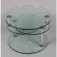 table basse ronde 3 plateaux de verre cristal