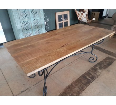 table rectangulaire fer forge bois massif campagne antique