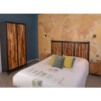 tete de lit industrielle en bois recycle et metal kraft