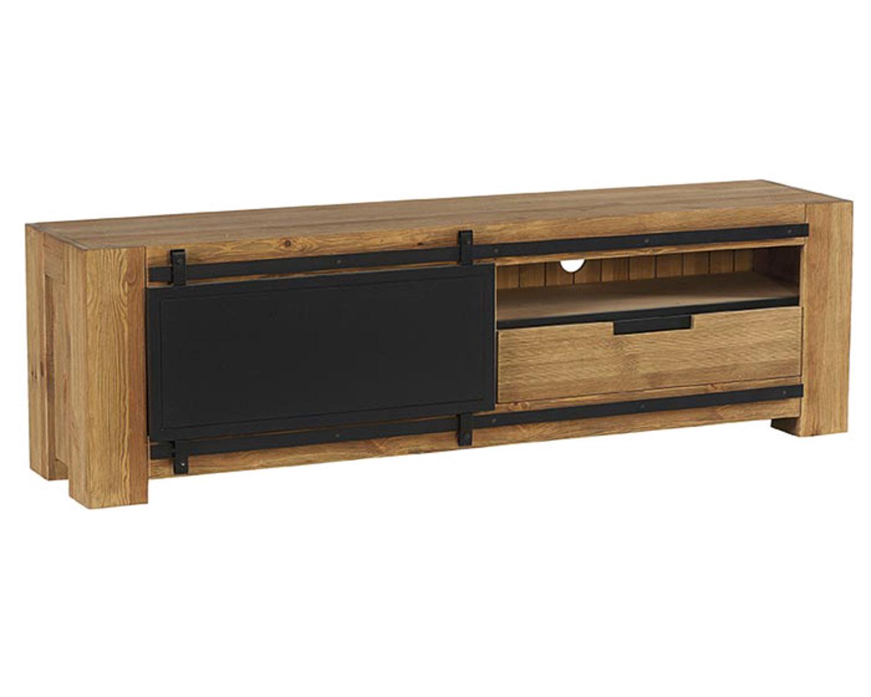 meuble tv metal et bois portes coulissantes en 180 cooper