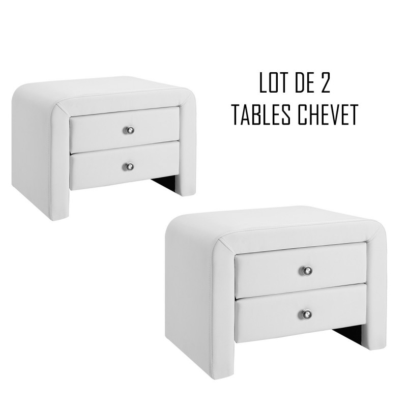 Lot De 2 Tables De Chevet Blanches Design Eva MEUBLERDESIGN