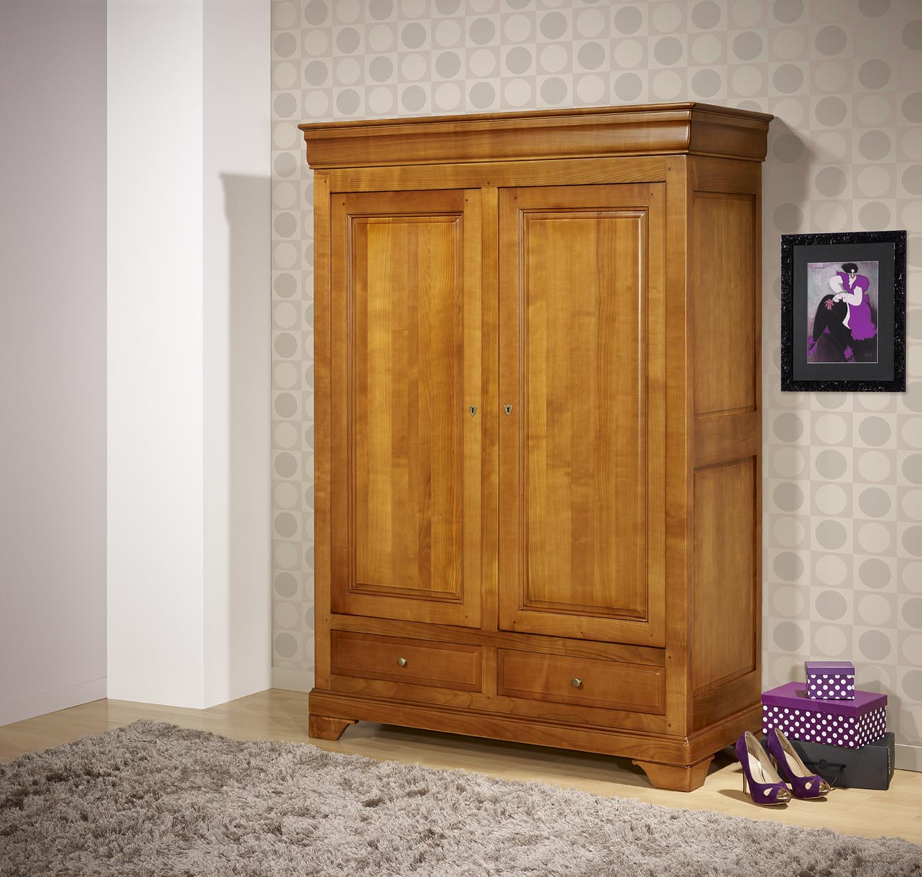 petite armoire 2 portes 2 tiroirs ines en merisier massif de style louis philippe meuble en merisier massif