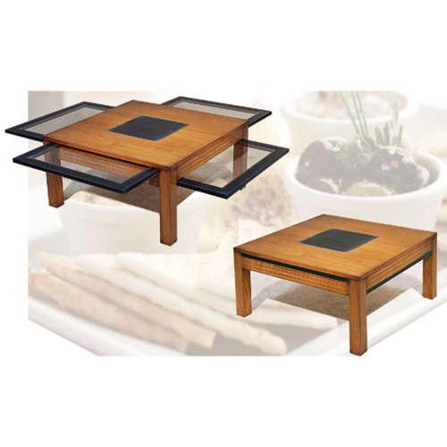 Table De Salon 4 Tirettes En Verre Cerezo