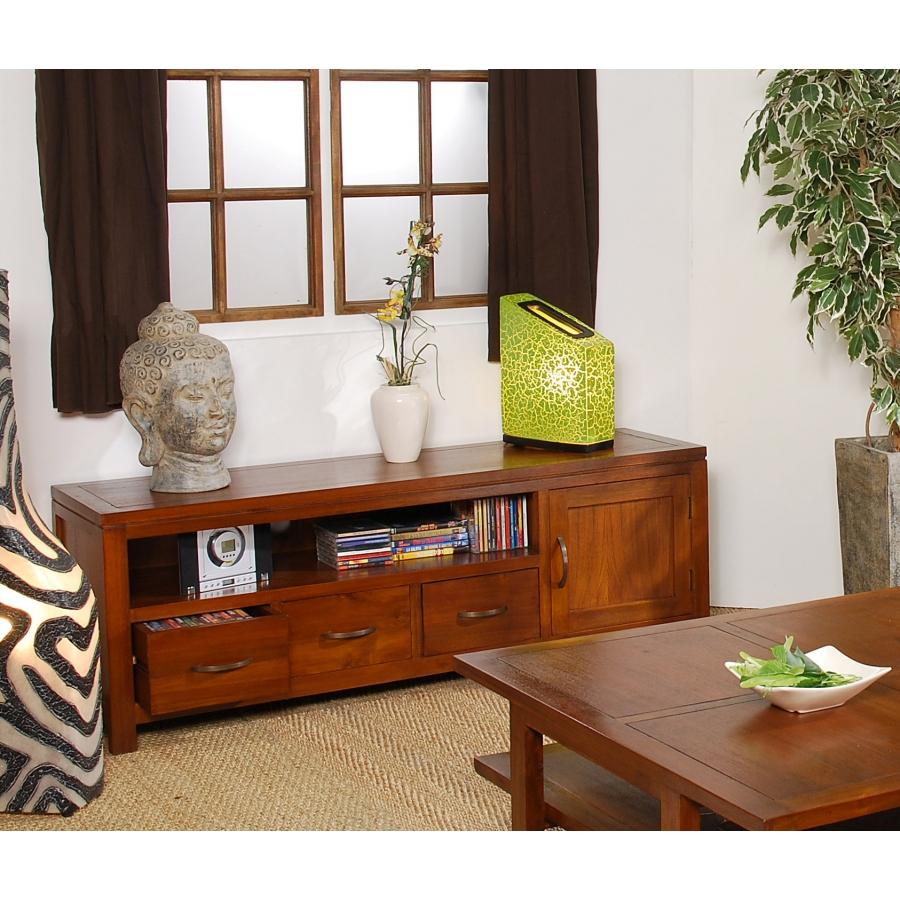 meuble bois mindi 3 tiroirs tv bas