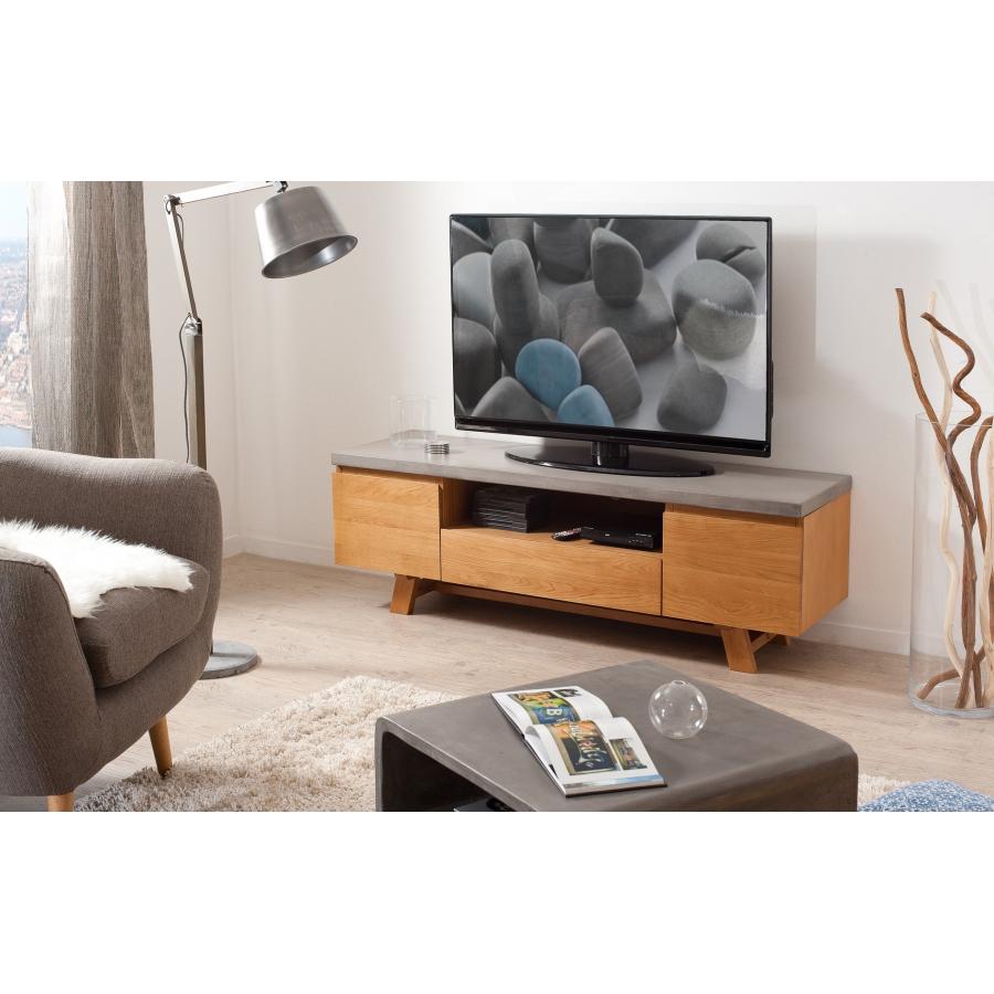 meuble tv bois et beton