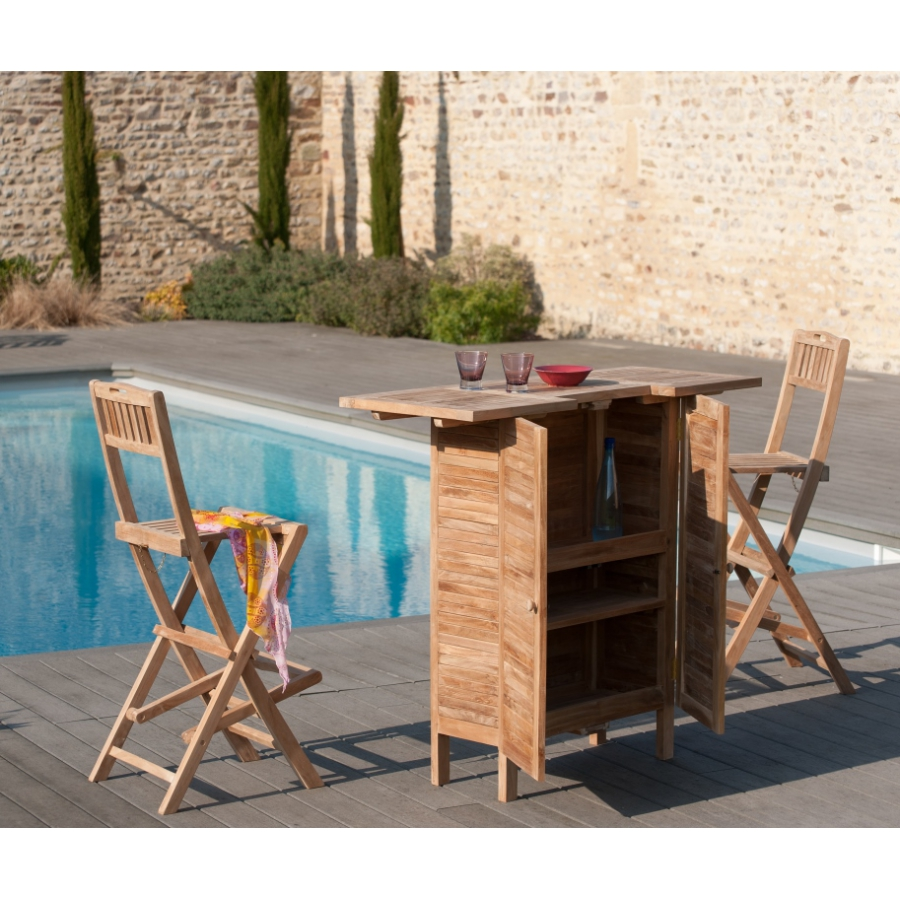 tabouret de bar de jardin en bois teck